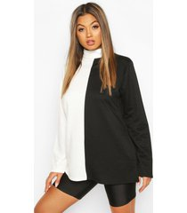 colour block turtle neck sweat top, cream