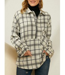 camicetta manica lunga taglia plus con stampa scozzese tasca con cerniera lampo