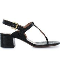 lautre chose black cracklé thong sandal