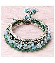 quartz beaded wristband bracelet, 'dreamy fields' (thailand)