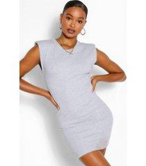geribde mini-bodycon jurk met schoudervulling, grijs