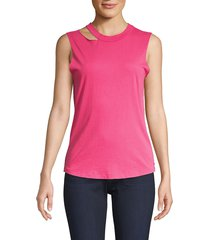 n:philanthropy women's hollywood cut out jersey tank top - hot rose - size l