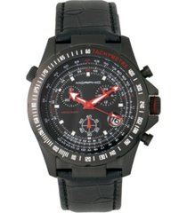 morphic m36 series, black case charcoal leather band chronograph watch, 44mm