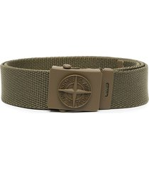 stone island junior logo-buckle canvas belt - green