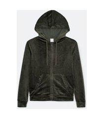 jaqueta básica esportiva plush com capuz e bolso canguru | get over | verde | m