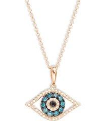 effy women's 14k rose gold & multi-colored diamond eye pendant necklace