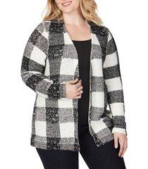 plus size women's foxcroft bardot buffalo check cardigan, size 1x - black