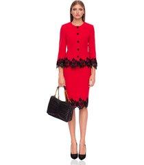 spódnica midi czerwona z czarną koronką