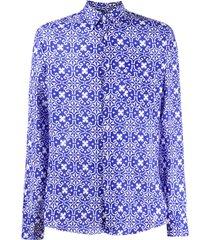 peninsula swimwear sperlonga printed shirt - blue