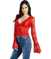blusa jordan lace top rojo guess