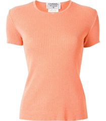 chanel pre-owned 1997 ribbed knitted t-shirt - pink