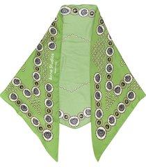 acne studios swedish floral print silk bandana - green