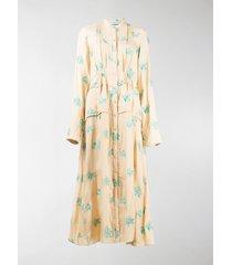 jil sander embroidered floral midi shirt dress