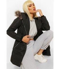 gewatteerde jas met faux fur capuchon en rits, black