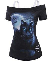 3d cat moon print cold shoulder ripped t shirt