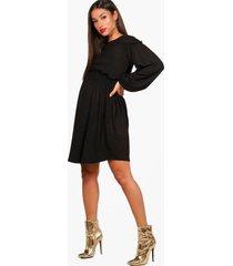zwangerschap gesmokte jurk met lange mouwen, zwart