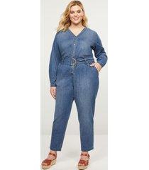 lane bryant women's button-front denim jumpsuit 22 medium wash