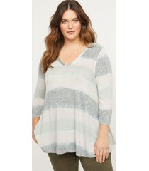 lane bryant women's softest touch striped swing top 22/24 green tie dye stripe