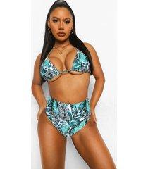 driehoekige palm print bikini top, ivory