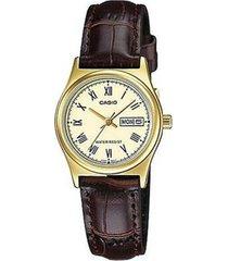 reloj analógico mujer casio ltp-v006gl9b - marrón con beige