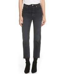 women's re/done originals high waist stovepipe jeans, size 32 - black