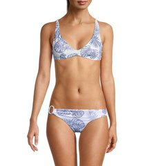 onia women's jerry leaf-print bikini top - white - size s