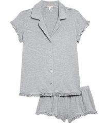 women's eberjey ruthie ruffle short pajamas, size large - grey