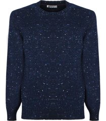 brunello cucinelli blue virgin wool-cashmere blend jumper