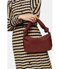 burgundy knot nylon shoulder bag - burgundy
