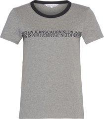 camiseta manga corta mirrored institutional slim t-shirt gris calvin klein