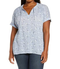 plus size women's caslon print split neck top