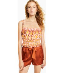 bar iii smocked tie-strap top, created for macy's