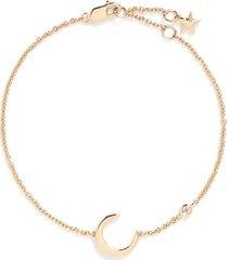 'lucky charm' diamond 18k yellow gold moon bracelet