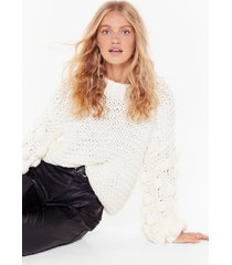 womens call it knit's pom pom balloon sleeve sweater - white