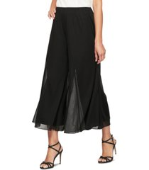 alex evenings petite chiffon wide-leg cropped pants