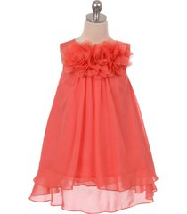 coral mesh flower chiffon a-line girl dresses birthday party bridesmaid wedding
