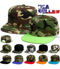 camouflage baseball cap flat bill snapback camo plain solid adjustable plain hat