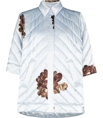 ganni quilted print shirt jacket - blue