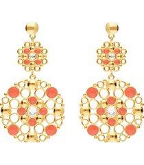 orecchini pendenti in ottone rosato con cristalli e smalto arancione per donna