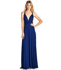 long royal blue convertible maxi infinity spandex bridesmaid wedding gown dress