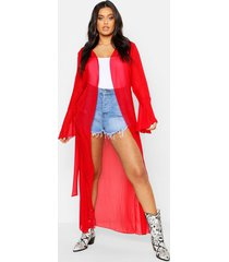 plus flute sleeve belted maxi kimono, red