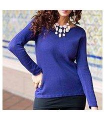 cotton and alpaca sweater, 'puno purple' (peru)