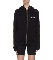 check panel zip-up hoodie