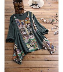 camicetta vintage manica lunga patchwork stampa etnica con bottoni