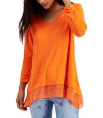 style & co v-neck chiffon-hem top, created for macy's