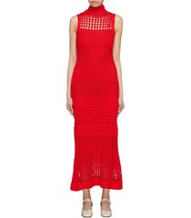crochet knit sleeveless turtleneck dress