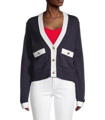 tommy hilfiger women's colorblock cardigan - midnight ivory - size xl