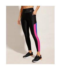 calça legging esporte ace com recortes e bolso cintura alta preta