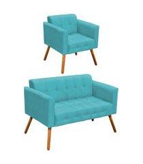 conjunto sofá retrô 2 lugares e 01 poltrona elisa suede azul turquesa - d'rossi.