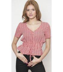 blusa cuello v cordon de ajuste rojo 609 seisceronueve